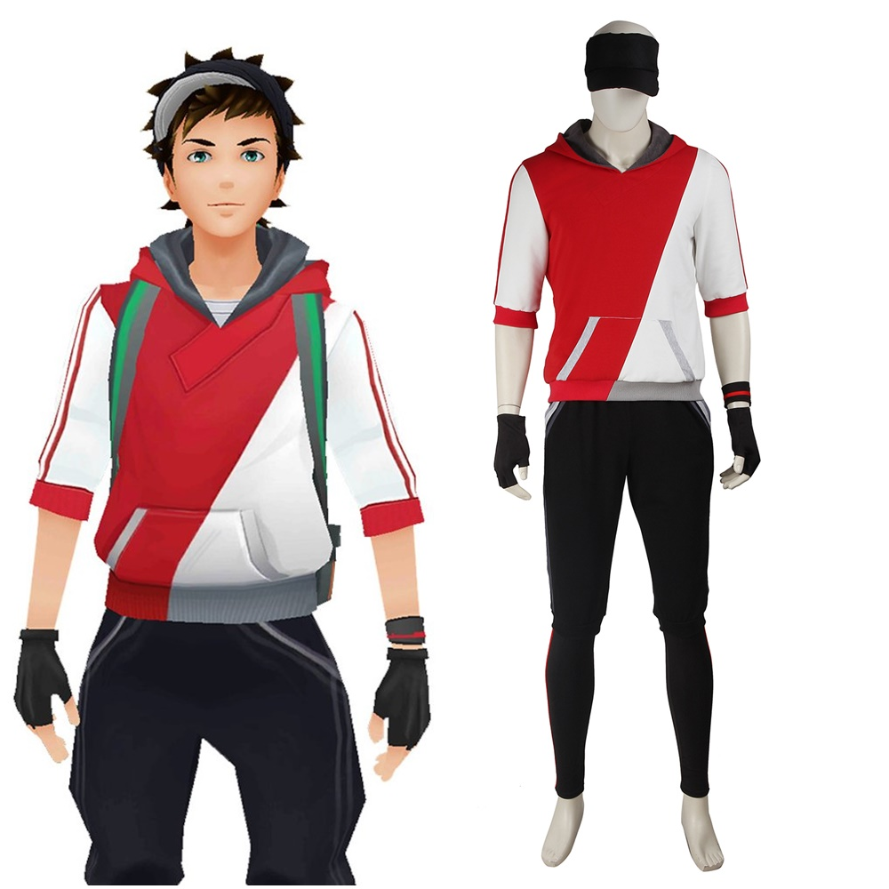 Men's Pokemon Go Trainer Red Team Valor Instinct Mystic Cosplay Costume