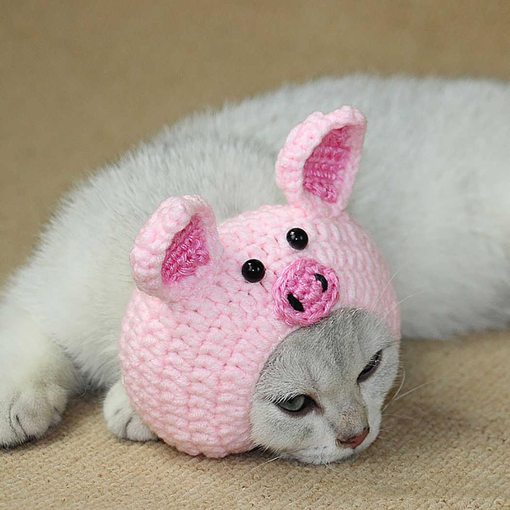 Màu hồng Dễ Thương Phim Hoạt Hình Len Hat cho Pet Dog Giữ Ấm Len Dệt Kim Hat Beanie Đầu Động Vật Dễ Thương Mô Hình Lợn Con Chó Con bông Trang Phục