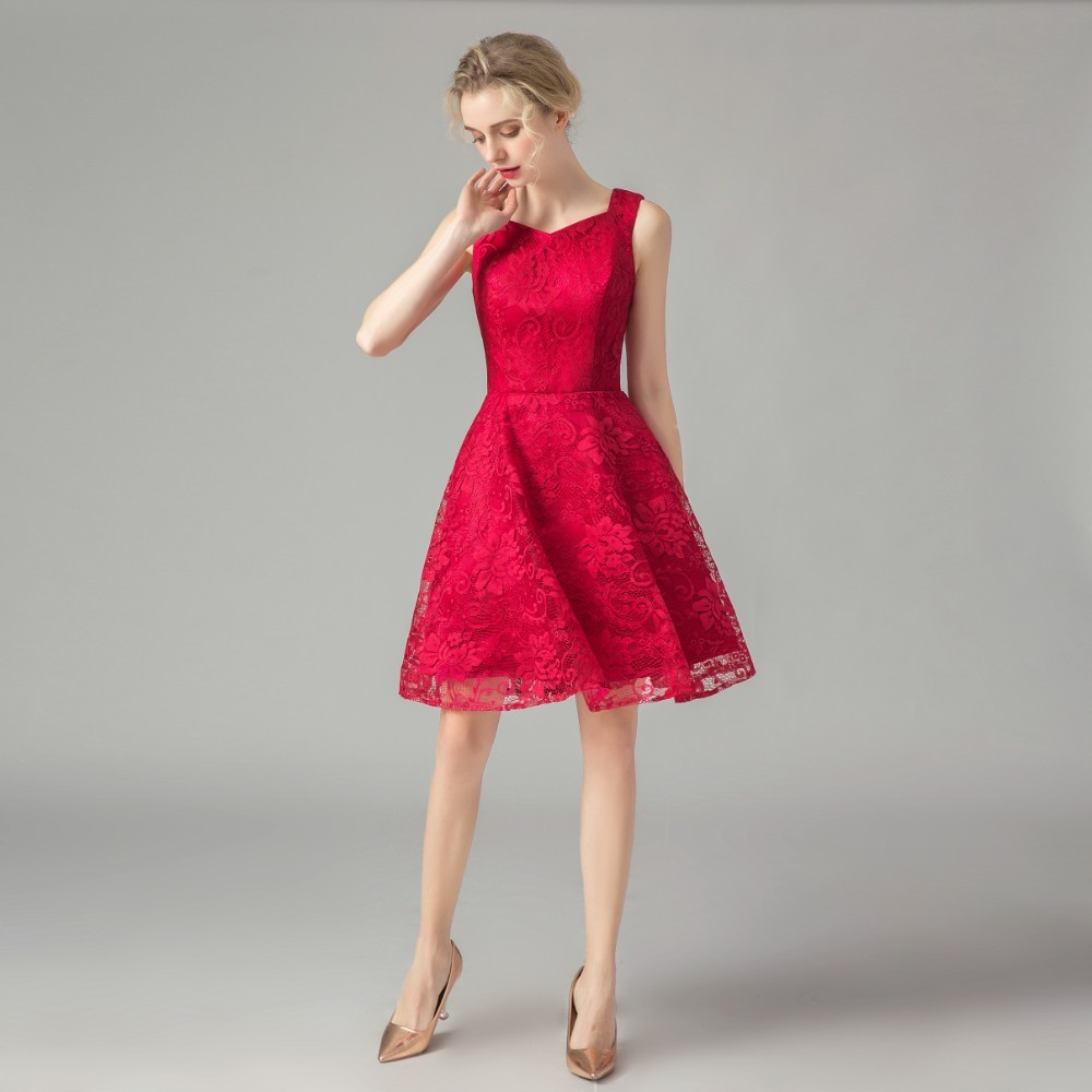Vivian's Bridal 2019 Cheap Lace Satin   Cocktail     Dress   Simple Sleeveless Red Mini   Dress   Lace Appliques Red Formal Party   Dress