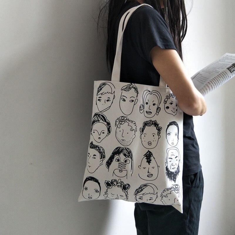 Canvas Tote Bag For Women Fashion Handbags Eco Reusable Cloth Shopping Bag Student School Bags Ladies Casual Shopper Bag