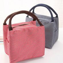 Leisure Women Portable Lunch Tote Bag Canvas Stripe Insulated Cooler Bags Thermal Food Picnic Bags Kids school Lunch Box Bag tote bag