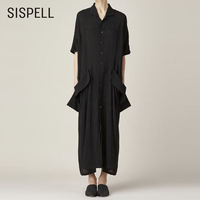 SISPEL 2018 Elegant Black Dress Shirt Women Lapel Short Sleeve Loose Big Size Pocket Women's Dresses Clothes Fashion New Casual
