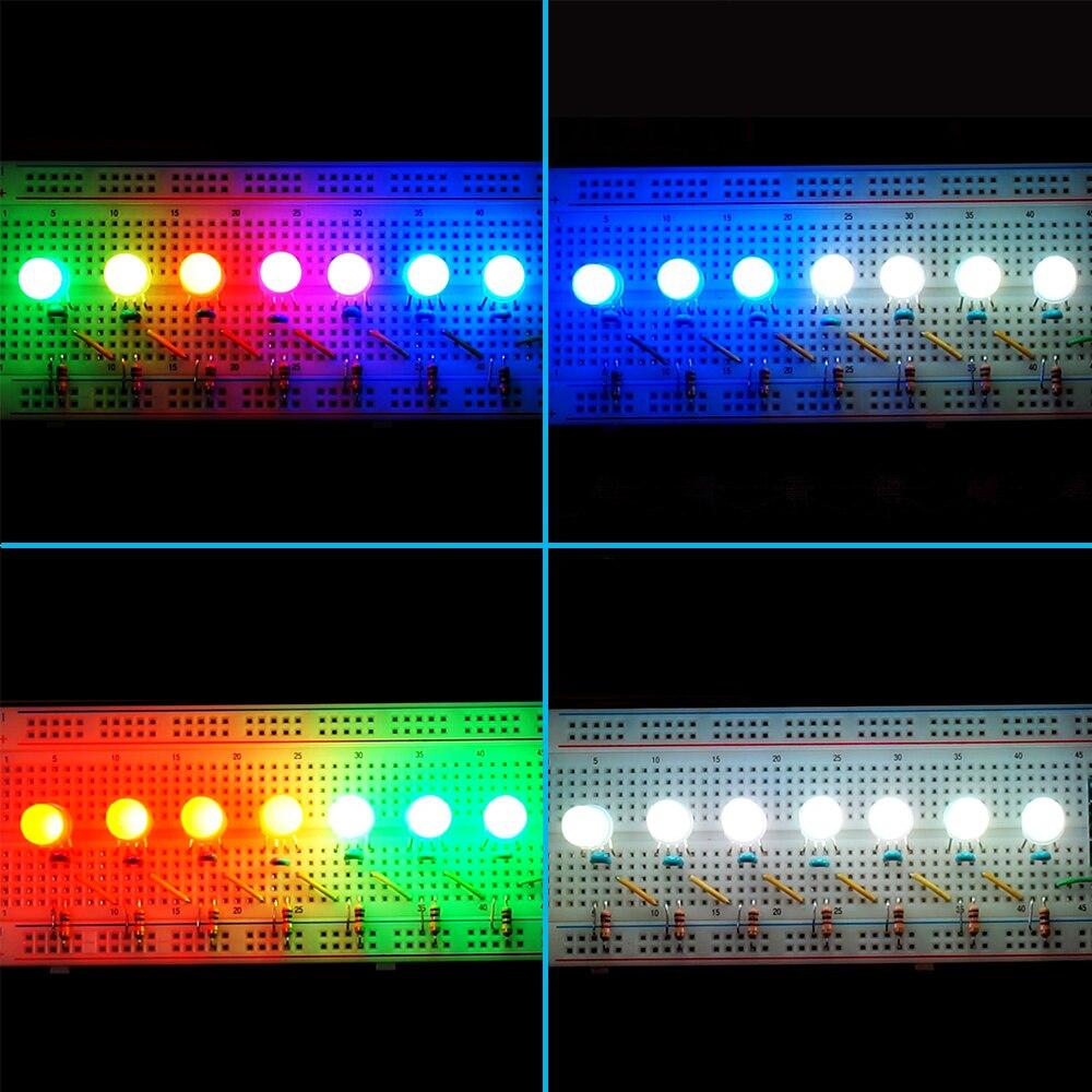 Image 4 - 5 1000 قطعة DC5V PL9823 F5 5 مللي متر F8 8 مللي متر قبعة دائرية عنونة المصابيح P9823 شرائح RGB كامل اللون متجمد LED رقائق بكسلrgb ledchip ledled rgb -