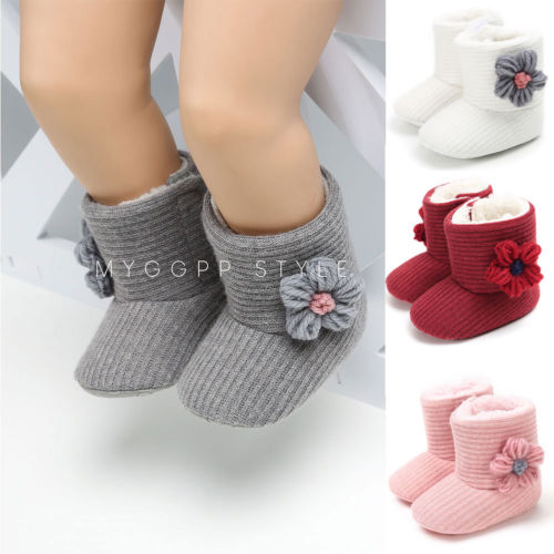 Infant Toddler Baby Girls Boots Boys Kids Winter Thick Snow Boots Fur Shoes Warm