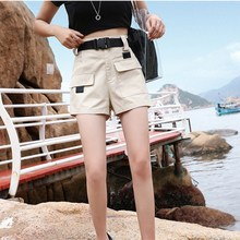 New Fashion Women Safari Style Solid Shorts Female Casual Pockets Belt Thin Short Pants