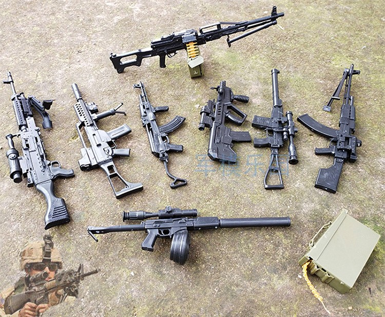 1:6 Assembly Gun Model Fourth Generation 1/6 Assault Rifle Light Machine Gun AK47 Soldier Weapon Plastic  Assembly Boy Toys