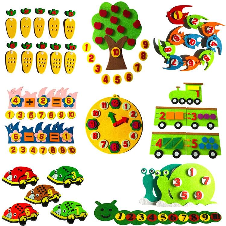 1PC Toys For Children Kindergarten Educational Toys DIY Felt Non-woven Fabric Crafts Kids Montessori Teaching Aids Math Toys