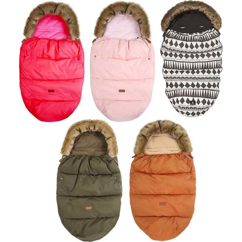 Infant Stroller Sleeping Bag Baby Foot With Fake Fur Collar Waterproof Warmer Sleepsack For Gifts O3