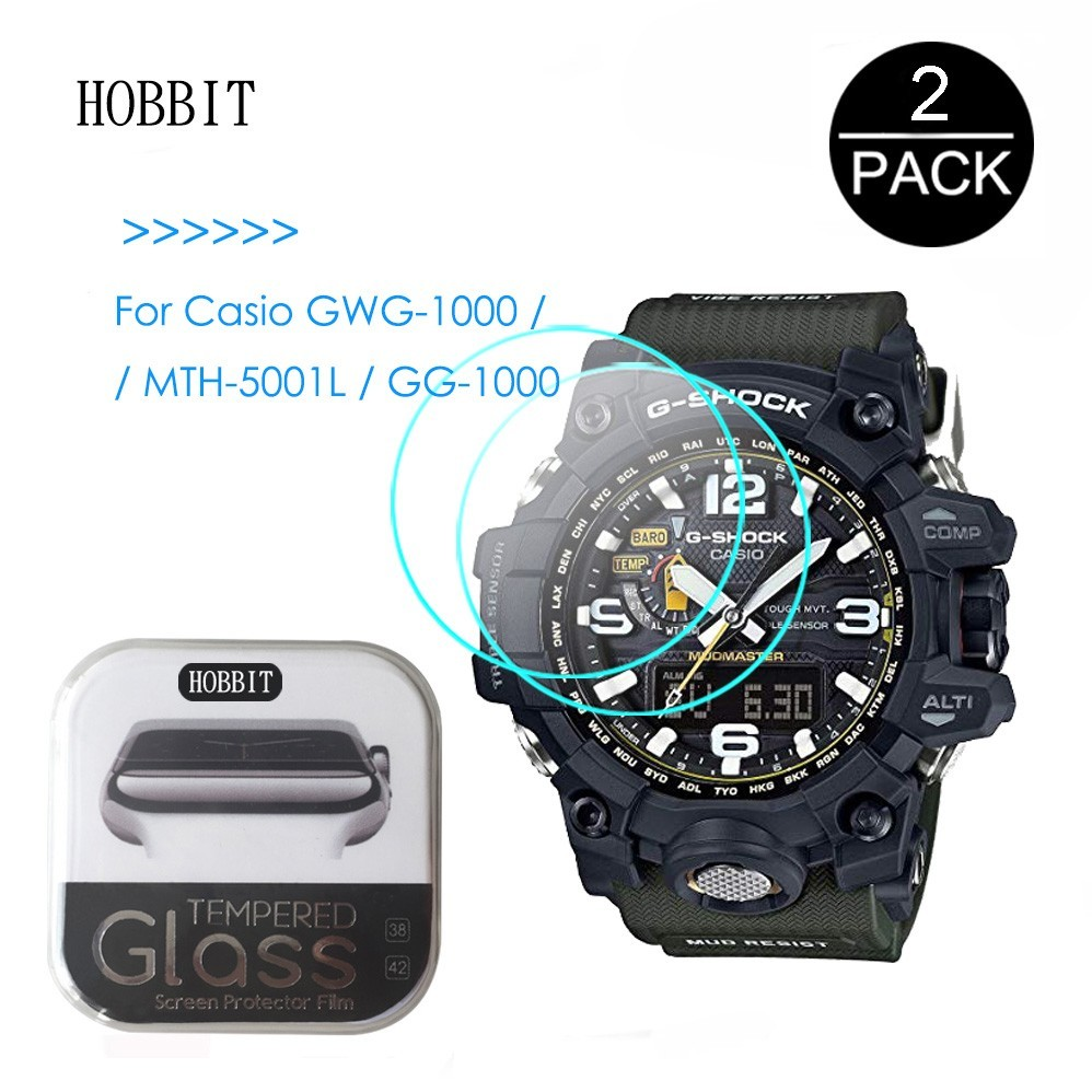 2PCS For Casio GWG-1000 GG-1000 MTH-5001L GWG100GB 0.3mm 2.5D Tempered Glass Screen Protector Watch Screen Guard Protective Film