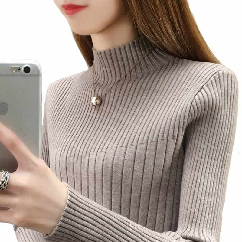 PEONFLY Women Turtleneck Sweaters Streetwear Jumper Solid Color Long Sleeve Female Tops Clothes Casual Knitting Pullovers Black