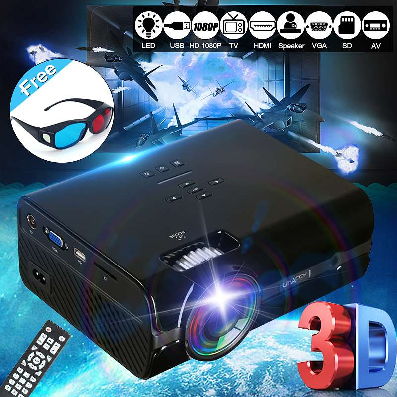 LCD LED Projector 7500 Lumens 800 x 480 Resolution Support 1080P Home Theatre System Office Home Cinema+ 3D glasses for free