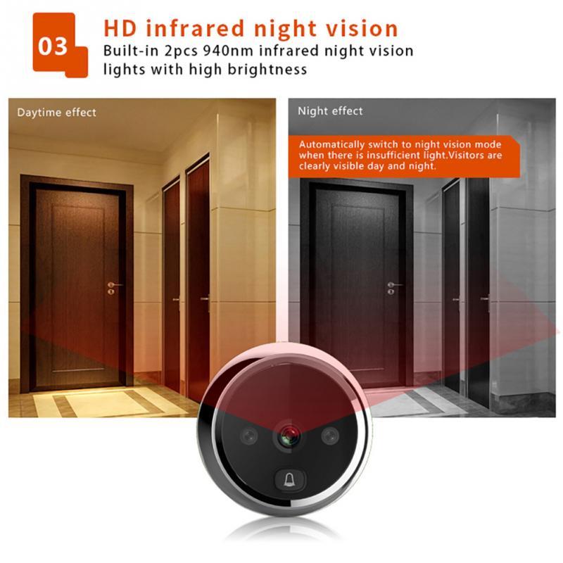Electrónica inteligente puerta visor Digital puerta timbre Anti-robo WIFI timbre Visual del espectador del Peephole puerta ojo - 2