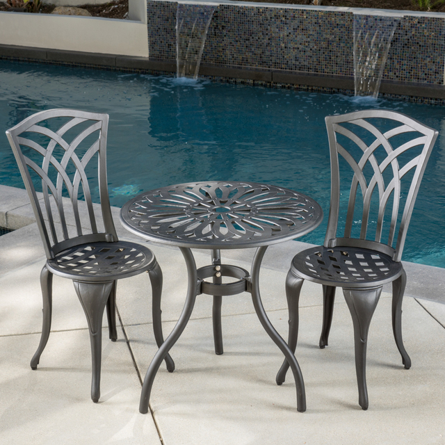 Franzburg 3pc Black And Sand Cast Aluminum Outdoor Bistro Set In