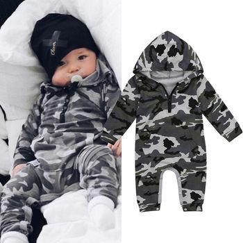 605afd1b4 Bebé niño camuflaje con capucha mameluco bebé recién nacido de camuflaje de  manga larga mameluco 2019 nuevo otoño cálido mono traje de niños ropa