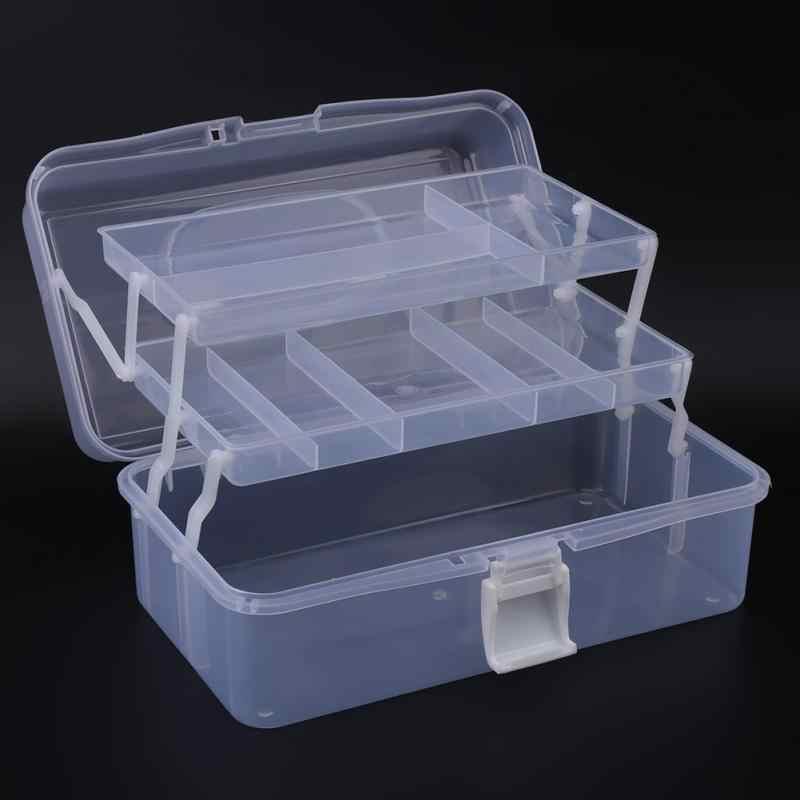 Прозрачный пластиковый складной трехслойный ящик для хранения инструмента корпус контейнера-органайзера с ручкой прозрачный синий дополнительный инструмент