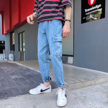 2019 Spring New jeans men denim Clothes Casual streetwear cotton Blue Pants Plus Size B420 все цены