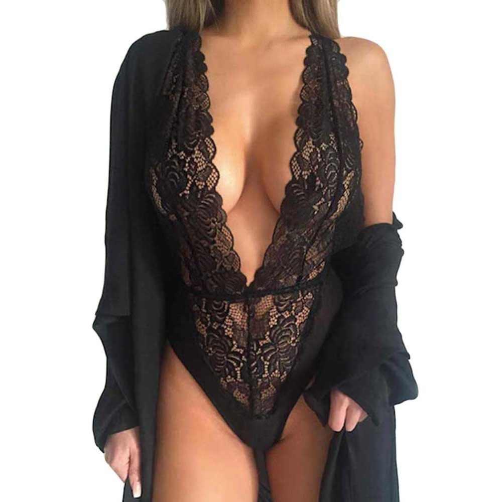 חם חדש נשים סקסיות עמוק V צוואר תחרה הלבשת סרבל Babydoll כתונת לילה שחור כותונת תחתונית de nuit