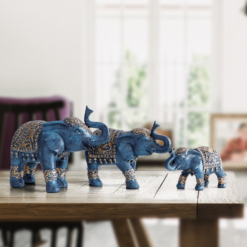 Famille éléphant Figurine résine thaïlande éléphant statue pour bureau salon fait à la main décorations pour la maison mignon animaux ornements