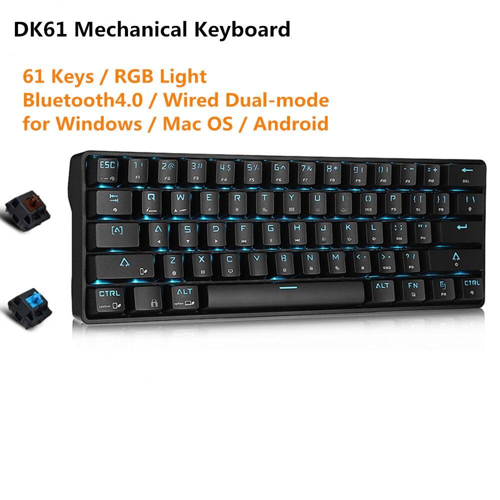 DK61 Bluetooth4.0 Double-Mode clavier mécanique 61 Touches USB2.0 RGB Lumière clavier de jeu Sans Fil Pour Pubg Lol Données Gamer