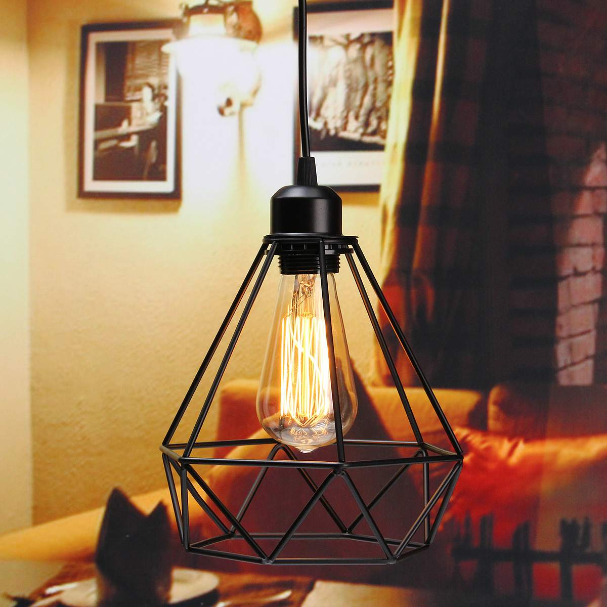 Hot Sale Retro cage pendant light iron minimalist retro Scandinavian loft pyramid pendant lamp metal Hanging Lamp E27 Indoor