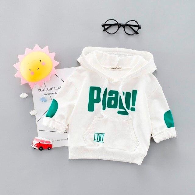Neue Frühling Herbst Mode Baby Kleidung Säuglings Brief Bluse Kind Hoodies Tops Jungen Mädchen Baumwolle Freizeit Sport Mit Kapuze Sweatshirts