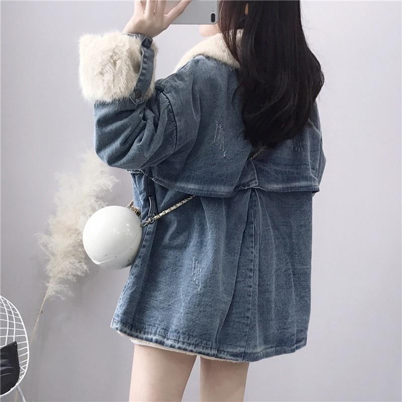 Femmes Manteau Mode Femme Taille 2019 Col Épais De Vintage Hiver Nouveau Longues Denim Manches Vgh Automne Réglable Blue Vestes À Fourrure qfI4tt