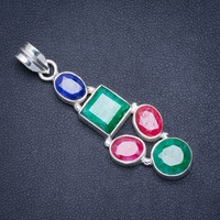 Natural Emerald,Cherry Ruby and Sapphire Handmade Unique 925 Sterling Silver Pendant 2 A0248