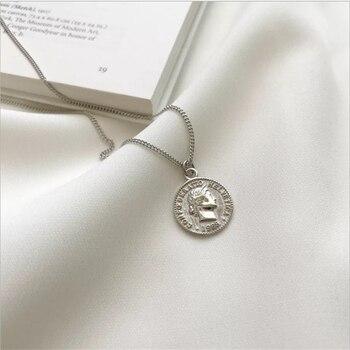 55b36aa09093 Puro de Plata de Ley 925 Collar de plata Moneda de dólar reina retrato de cabeza  colgante