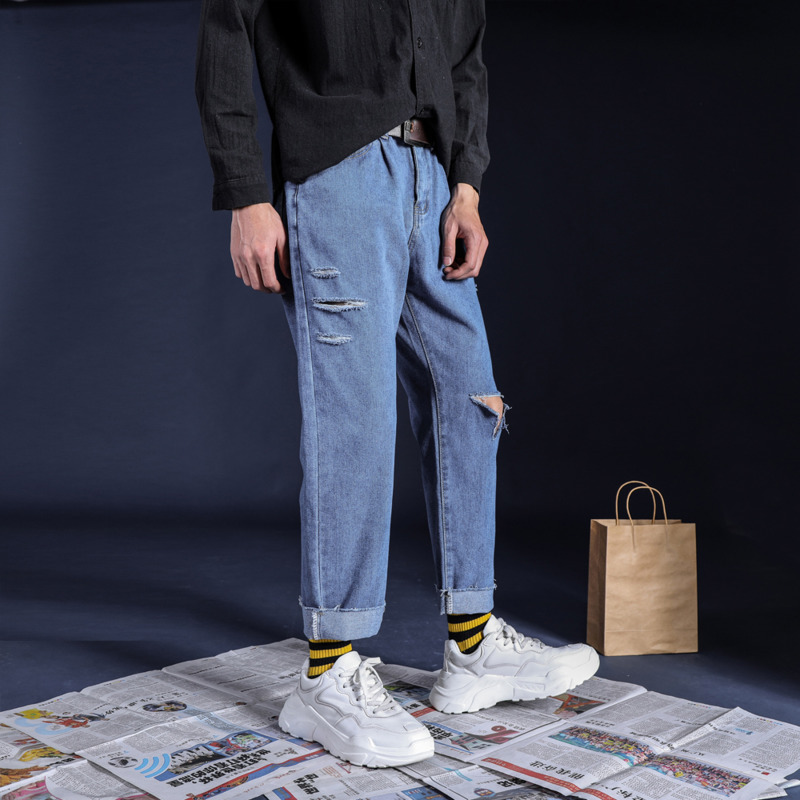 Summer New Jeans Men Washed Solid Color Casual Torn Holes Denim Pants Man Streetwear Hip Hop Loose Cowboy Trousers Male Clothes