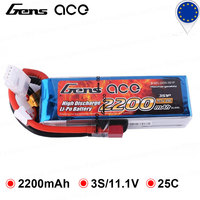 Gens ace 11.1V 2200mAh Lipo 3S Battery Pack 25C Deans XT60 Plug Batteries for Airsoft Gun RC Boat Car Heli Quadcopter FPV Frame
