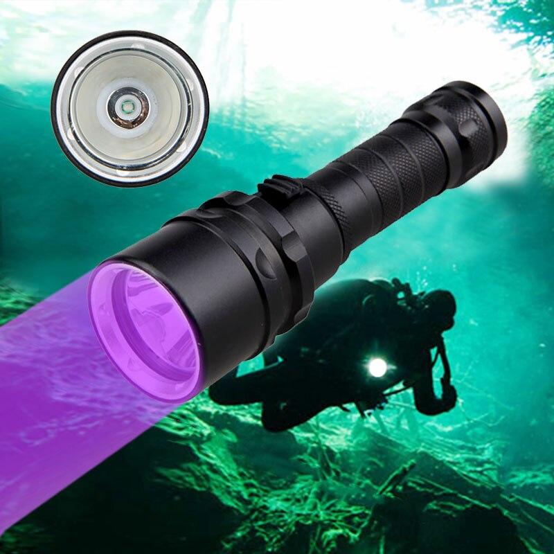 Luz uv profissional subaquática recarregável 18650 bateria led xpe mergulho lanterna 100 m tocha 10 w 365-395nm