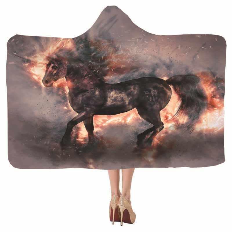 3D Màu Xám Động Vật Wolf Ngựa Áo Chăn Phong Cách Tối Sợi Nhỏ Sang Trọng Trùm Đầu Chăn Sofa Giường Văn Phòng Du Lịch Ném Chăn