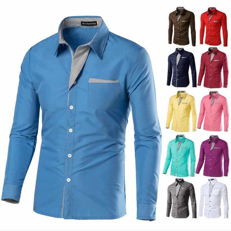 67deb1620d2 ... Mens Dress Shirts Long Sleeve Camisas Hombre Smart Casual Young Men  Shirts Slim Fit Camisa Masculina ...