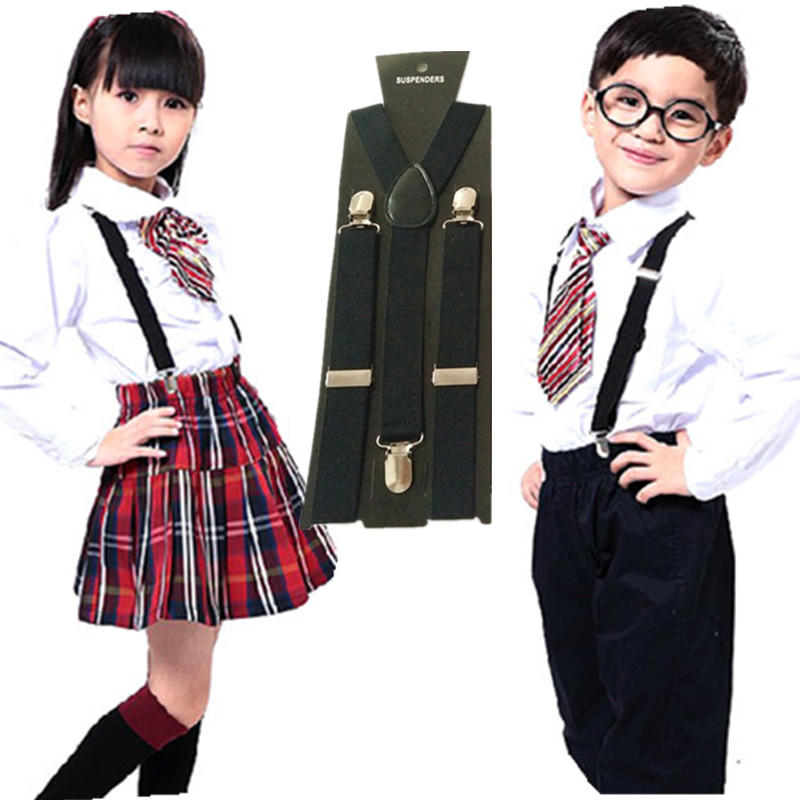 Solid Color Unisex Children Suspenders Kids Elastic Adjustable Middle School Boys Girls Braces Accessories BD001-M 2.5*85CM