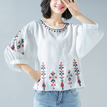 Spring Summer Womens Tops And Blouses Vintage O-neck Floral Embroidery Lantern Sleeve Shirt Blusa Feminina