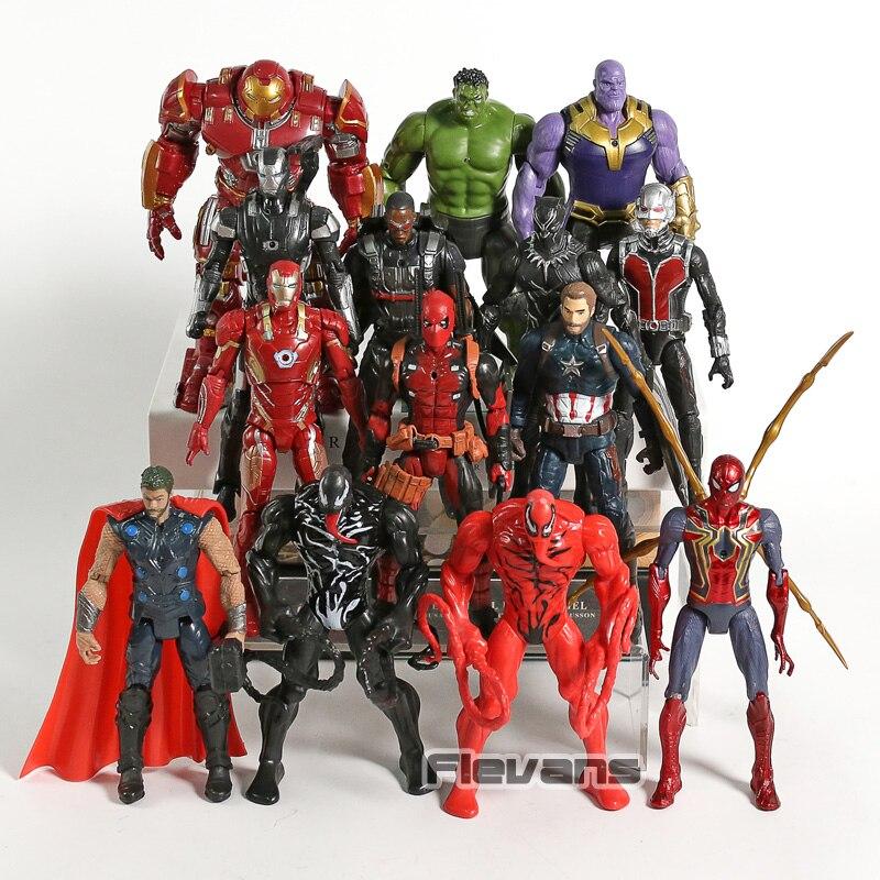 7pcs Thanos Venom Carnage Iron SpiderMan Thor PVC Figur modell mit LED Licht