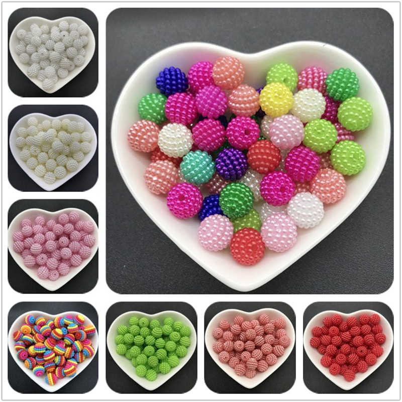 10mm 50pcs Acrylic Beads Bayberry Beads Round Loose Beads Fit Europe Beads For Jewelry Making DIY Accessories