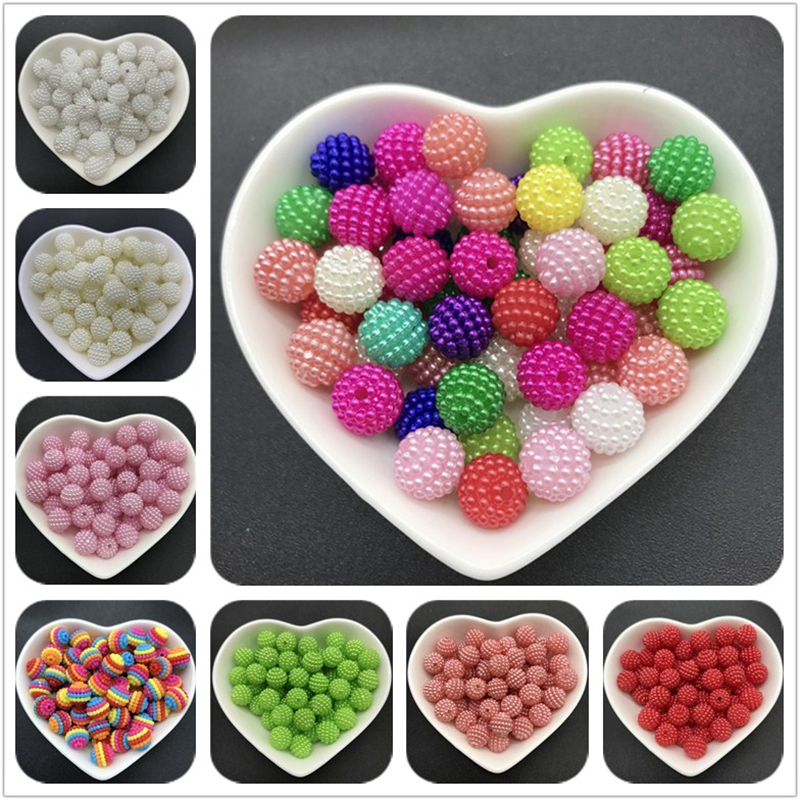 10mm 50pcs Acrylic Beads Bayberry Beads Round Loose Beads Fit Europe Beads For Jewelry Making DIY Accessories(China)