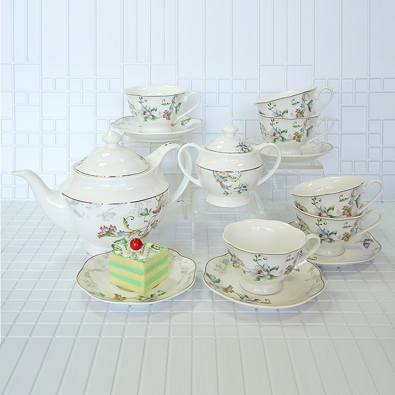 Chinese kung fu tea set Exquisite set Crimson flower pattern tea set 2 pot 6 cup 6 discs tea cup porcelain 14 pieces in Teaware Sets from Home Garden