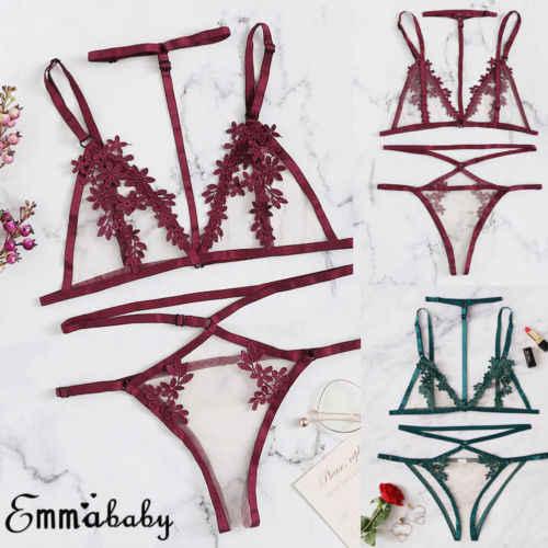 Lencería Sexy Sujetador de encaje + conjuntos de Tanga conjuntos de ropa interior de retazos de malla de encaje tops cortos con cuello Halter sin mangas de flores para mujer 2 uds
