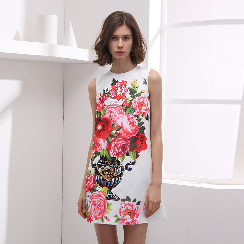 Summer White Tank Dress For Famal Floral Sleeveless Woman Short Dresses Print Manual Nail Bead Party Mini Dress
