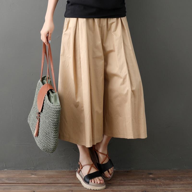 Black,Khaki,Army Green Loose Trousers Pockets Summer Style Women Elastic Waist Cotton and Linen Slacks   Wide     Leg     Pants