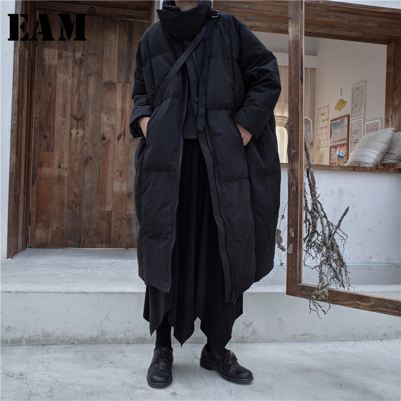 [EAM]2019 New Spring Stand Collar Long Sleeve Brief Black Loose Large Size Keep Warm Down Jacket Women Coat Fashion JK801