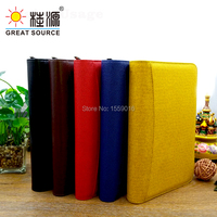 A6 ring binder folder leather meeting folder ziplock binder bag with calculator