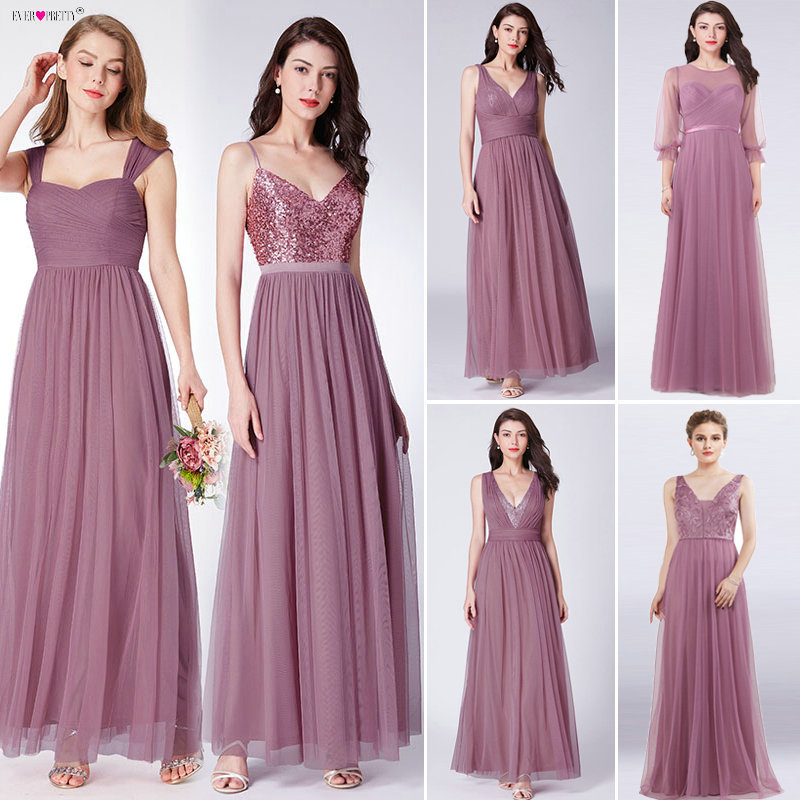 Bridesmaid-Dresses Guest-Gowns Ever Pretty Weddings Dust Party Pink Long for Vestido-De-Festa