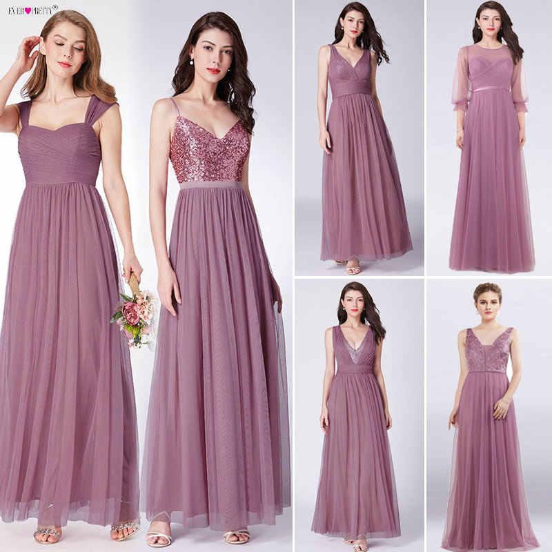 אבק ורוד שושבינה שמלות ארוך פעם די נשים אלגנטי שמלות לחתונות המפלגה אורח שמלות Vestido דה Festa לונגו 2019