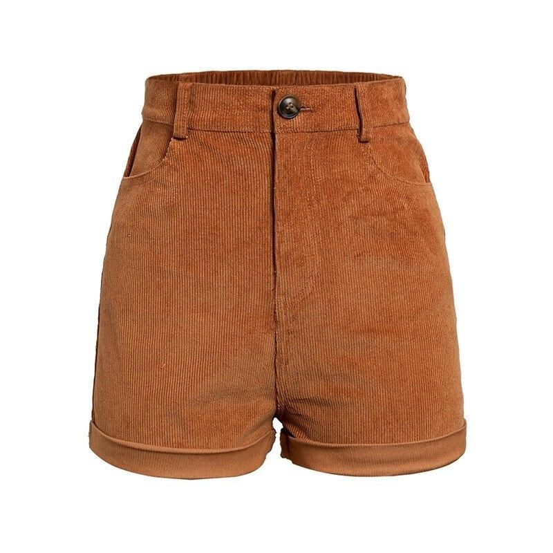 Goedhartig Vrouwen Elastische Hoge Taille Corduroy Shorts Zomer Rits Skinny Streetwear Shorts Casual Fashion Solid Korte Broek Uitstekende Kwaliteit