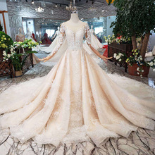 Super luxury handwork sequins Wedding Dress Long sleeve champagne Gown Hand Sewing lace