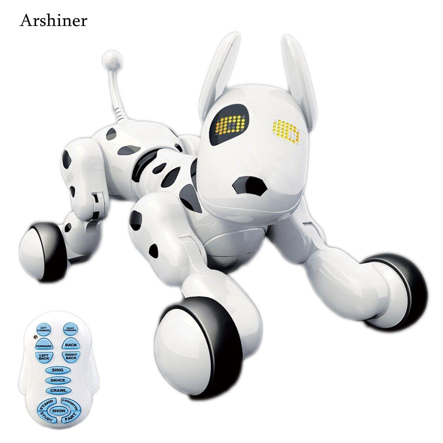 Newest Wireless remote control smart robot dog electric dog early education educational toys for children(White)