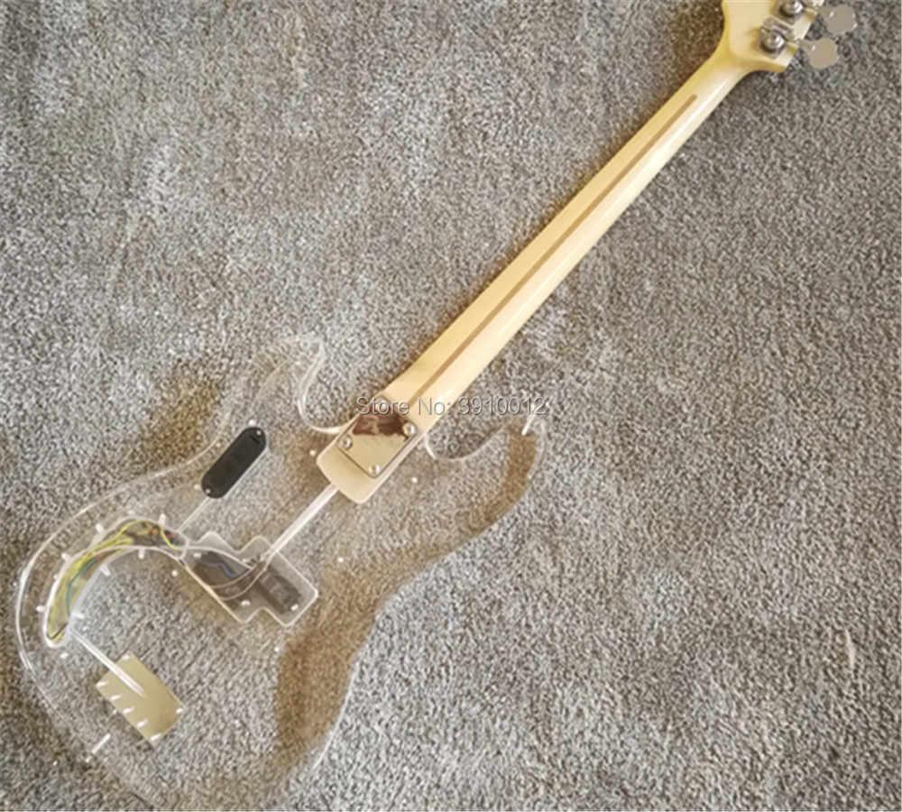 Высокое качество на заказ акриловый корпус 4 струны джаз бас Светодиодный Фонари клен шеи Электрический бас-гитары акрил